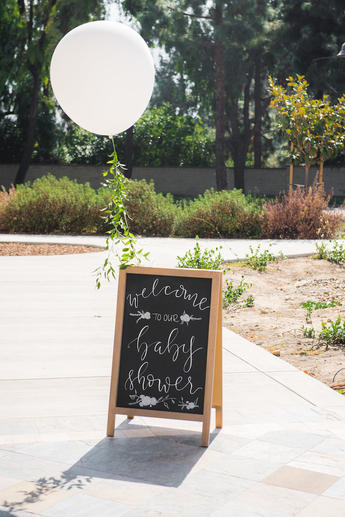 Chalkboard welcome sign with jumbo balloon from a Fall Boho Chic Baby Shower on Kara's Party Ideas | KarasPartyIdeas.com (15)