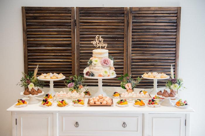 Dessert table from a Fall Boho Chic Baby Shower on Kara's Party Ideas | KarasPartyIdeas.com (11)