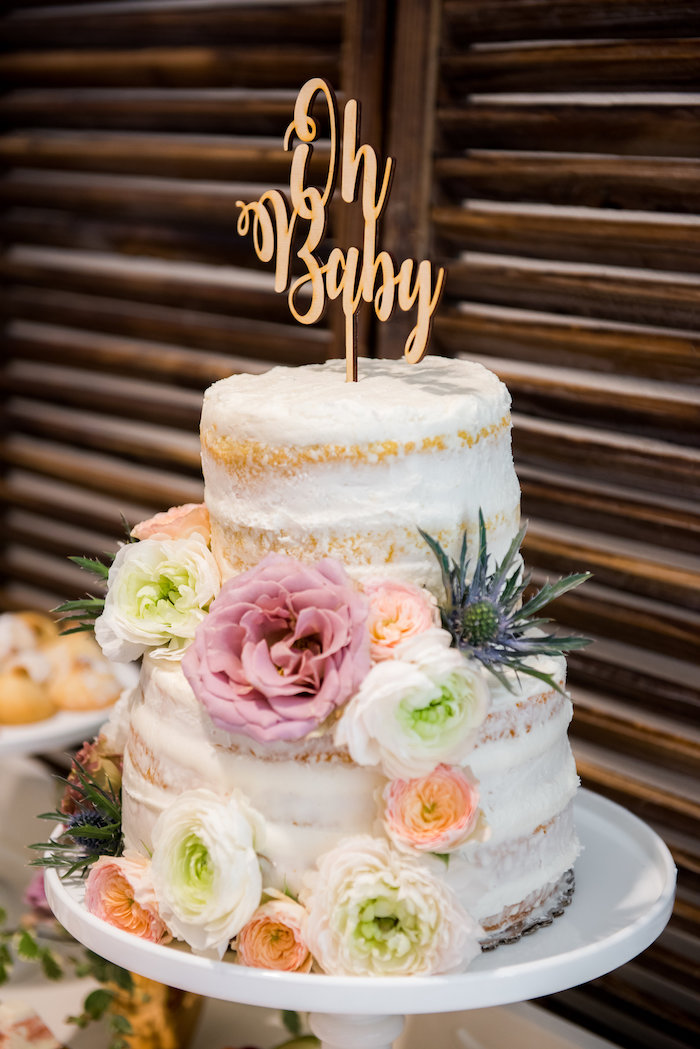 Semi-naked floral cake from a Fall Boho Chic Baby Shower on Kara's Party Ideas | KarasPartyIdeas.com (9)