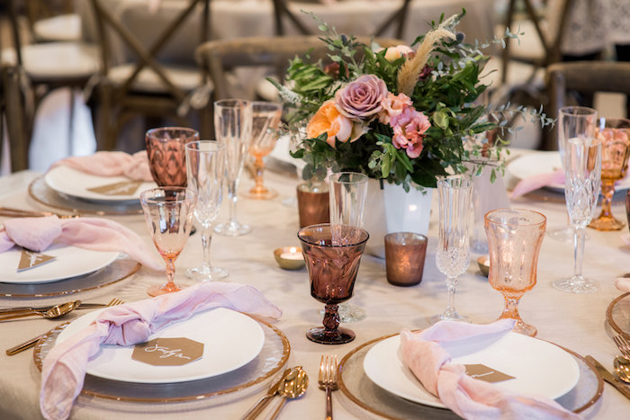 Guest tablescape from a Fall Boho Chic Baby Shower on Kara's Party Ideas | KarasPartyIdeas.com (34)
