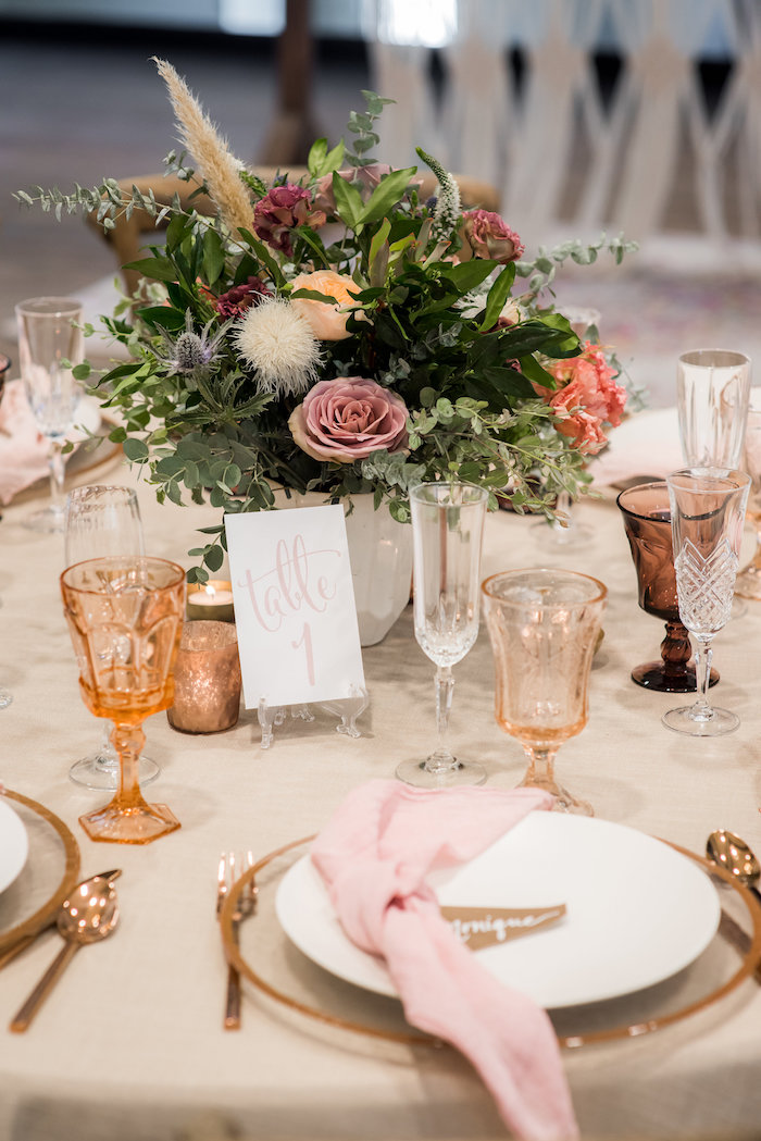 Guest tabletop from a Fall Boho Chic Baby Shower on Kara's Party Ideas | KarasPartyIdeas.com (30)