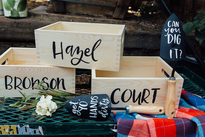 Personalized plant crates from a Fall Planting Party on Kara's Party Ideas | KarasPartyIdeas.com (19)