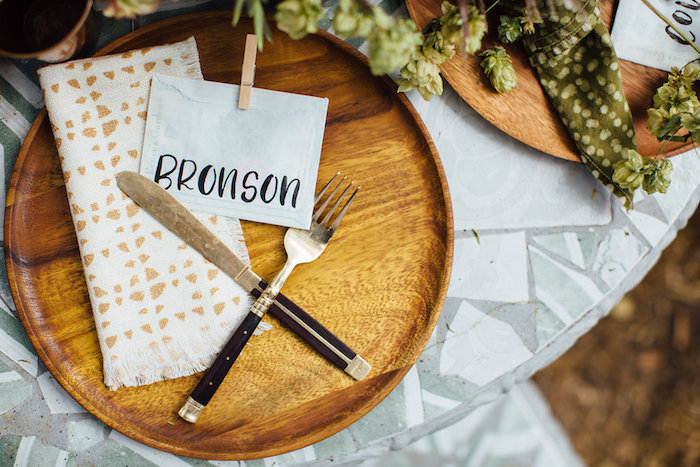 Rustic place setting from a Fall Planting Party on Kara's Party Ideas | KarasPartyIdeas.com (36)