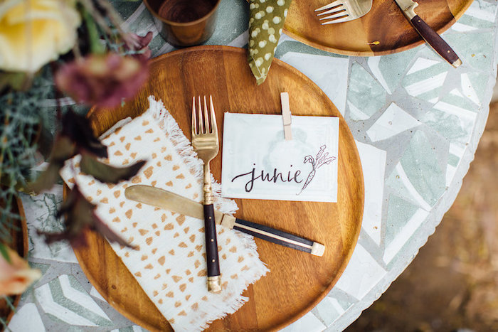 Rustic place setting from a Fall Planting Party on Kara's Party Ideas | KarasPartyIdeas.com (35)