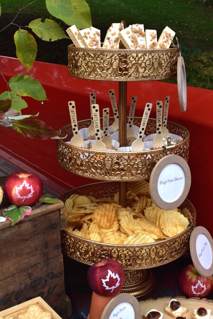 Snack and sweet pedestal from a Fall Tailgate Party on Kara's Party Ideas | KarasPartyIdeas.com (16)