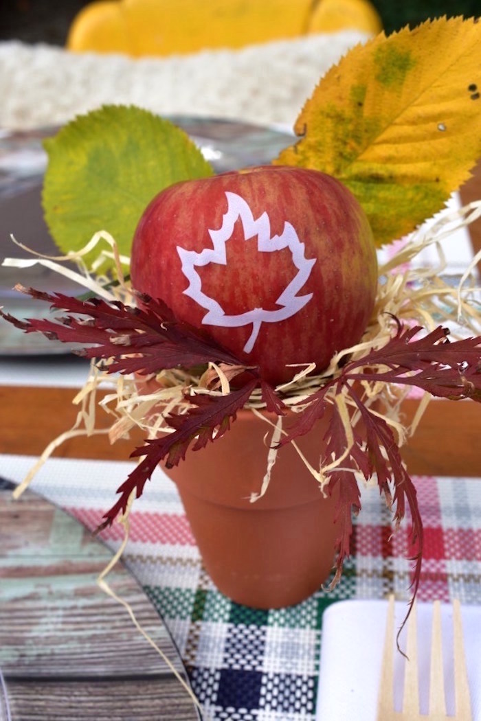 Fall apple & terra cotta pot centerpiece from a Fall Tailgate Party on Kara's Party Ideas | KarasPartyIdeas.com (27)