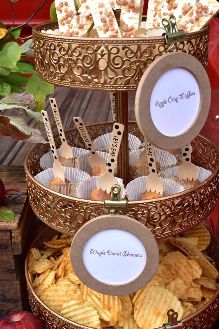 Sweet + snack pedestal from a Fall Tailgate Party on Kara's Party Ideas | KarasPartyIdeas.com (25)