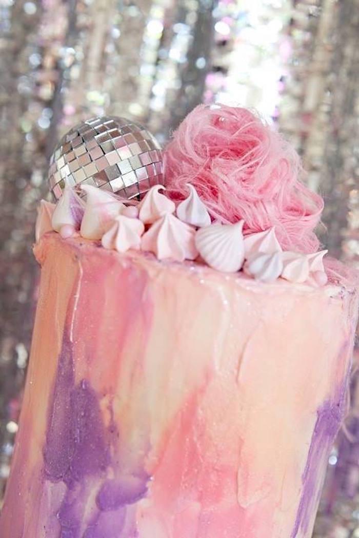 Cake from a Floral Disco Party on Kara's Party Ideas | KarasPartyIdeas.com (26)