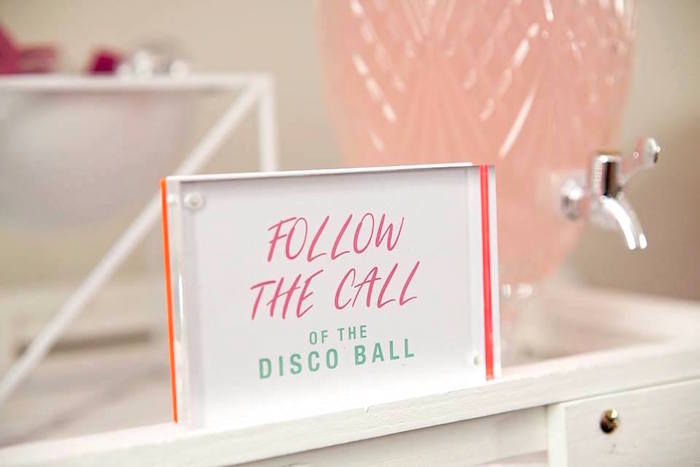 Follow the Call of the Disco Ball Signage from a Floral Disco Party on Kara's Party Ideas | KarasPartyIdeas.com (25)
