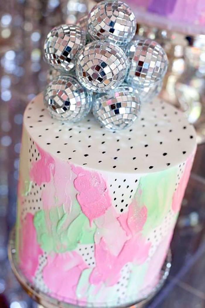 Disco ball cake from a Floral Disco Party on Kara's Party Ideas | KarasPartyIdeas.com (22)