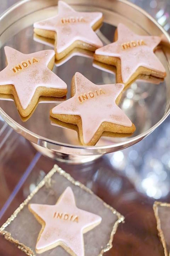 Star cookies from a Floral Disco Party on Kara's Party Ideas | KarasPartyIdeas.com (21)