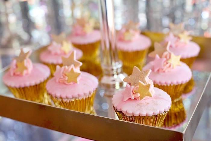 Star cupcakes from a Floral Disco Party on Kara's Party Ideas | KarasPartyIdeas.com (18)
