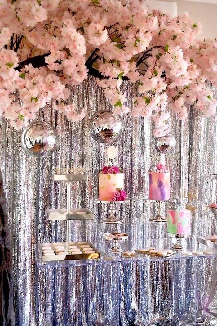 Disco dessert table from a Floral Disco Party on Kara's Party Ideas | KarasPartyIdeas.com (14)