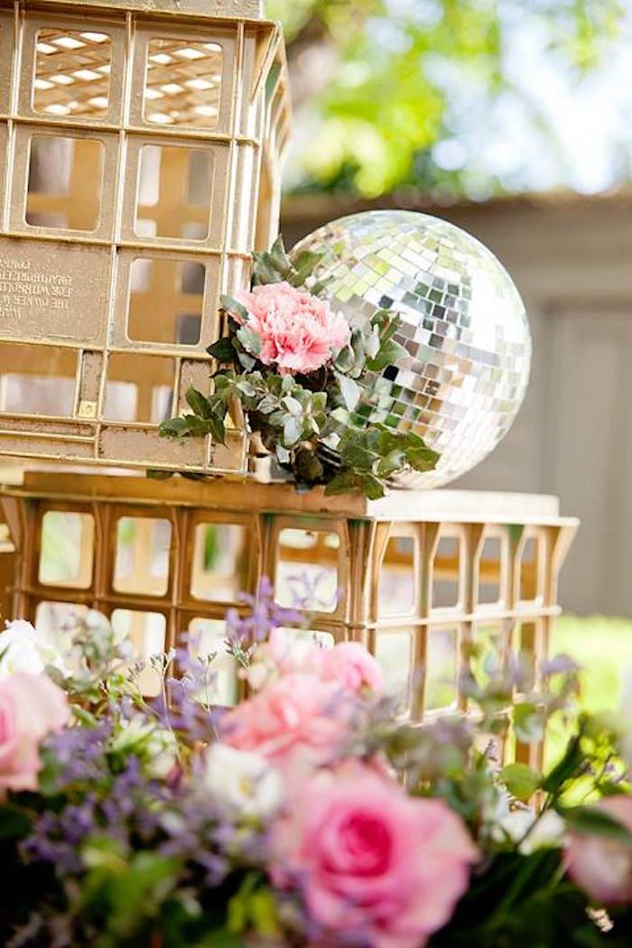 Floral disco ball from a Floral Disco Party on Kara's Party Ideas | KarasPartyIdeas.com (11)