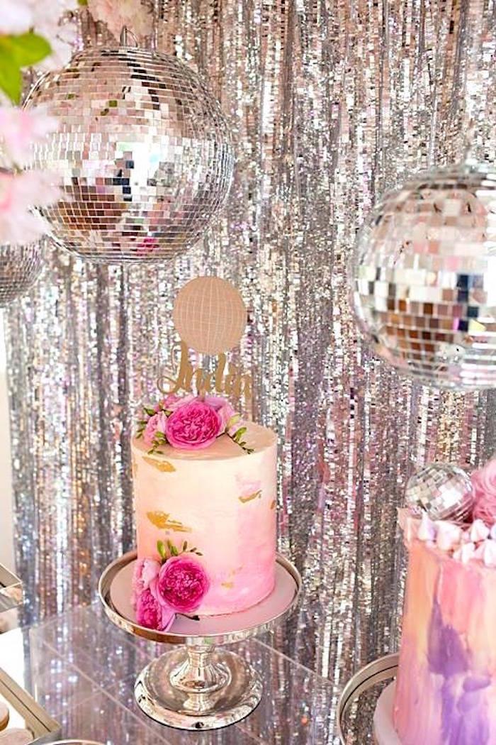 Disco ball cakescape from a Floral Disco Party on Kara's Party Ideas | KarasPartyIdeas.com (9)