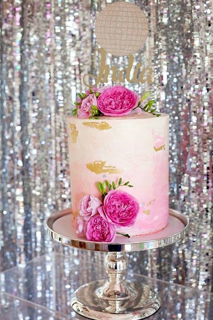 Pink ombre watercolor cake from a Floral Disco Party on Kara's Party Ideas | KarasPartyIdeas.com (36)