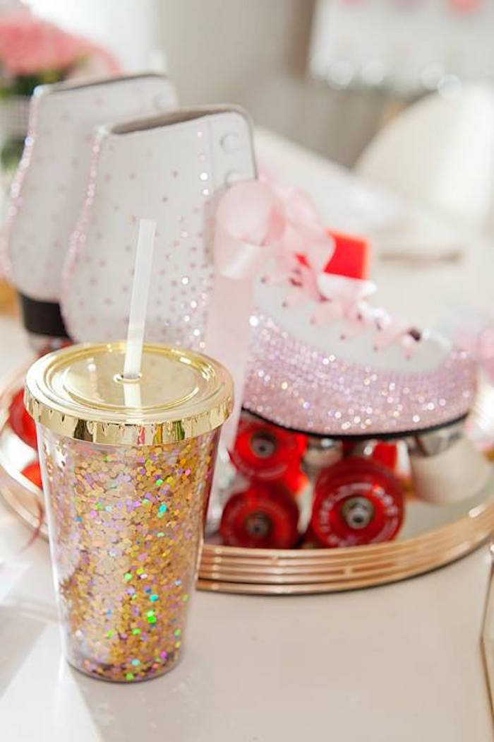 Glitter cup from a Floral Disco Party on Kara's Party Ideas | KarasPartyIdeas.com (8)