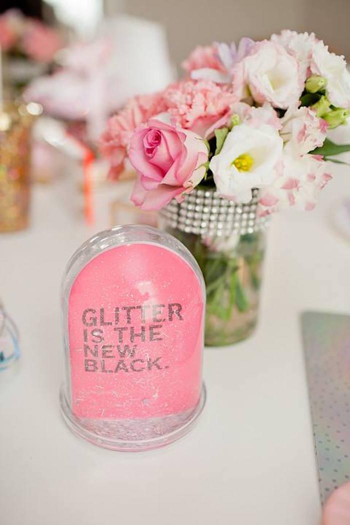 Glitter globe from a Floral Disco Party on Kara's Party Ideas | KarasPartyIdeas.com (6)