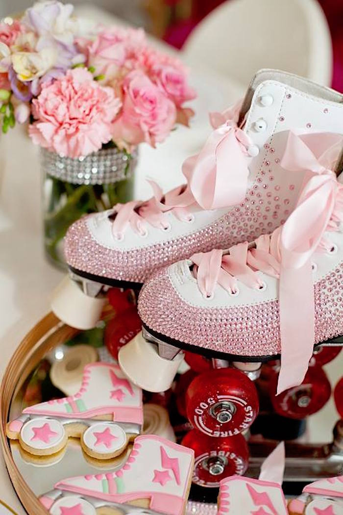 Jeweled roller skates & cookies from a Floral Disco Party on Kara's Party Ideas | KarasPartyIdeas.com (33)
