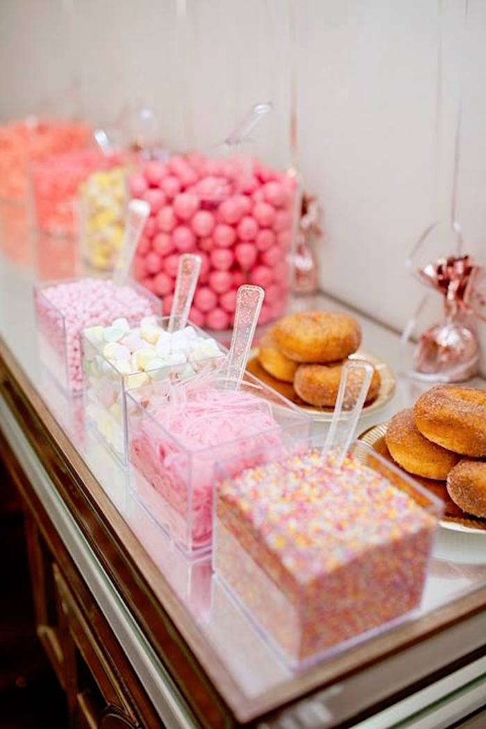 Donut decorating station from a Floral Disco Party on Kara's Party Ideas | KarasPartyIdeas.com (30)