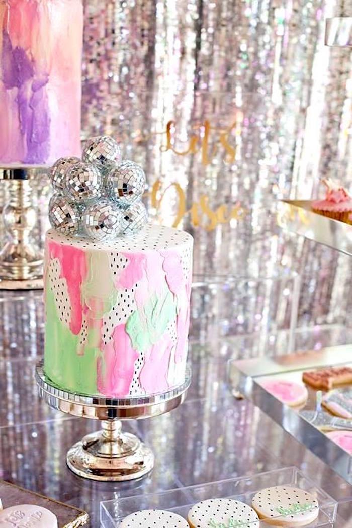 Watercolor disco ball cake from a Floral Disco Party on Kara's Party Ideas | KarasPartyIdeas.com (29)