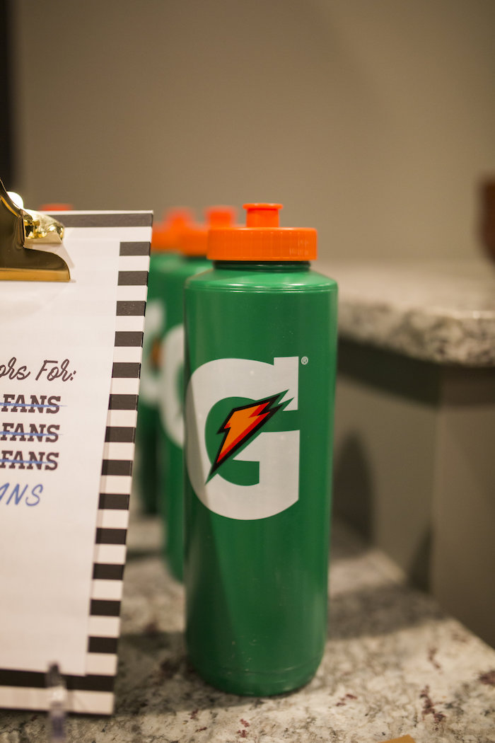 Water bottle favors from a Football Kickoff Party on Kara's Party Ideas | KarasPartyIdeas.com (33)