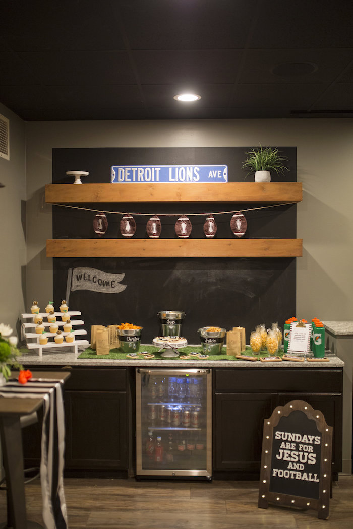 Chips & Dip Station + Head Party Table from a Football Kickoff Party on Kara's Party Ideas | KarasPartyIdeas.com (29)
