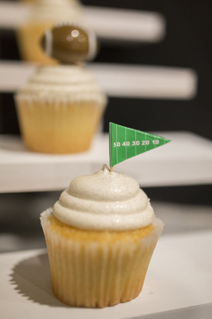 Cupcake with flag topper from a Football Kickoff Party on Kara's Party Ideas | KarasPartyIdeas.com (26)