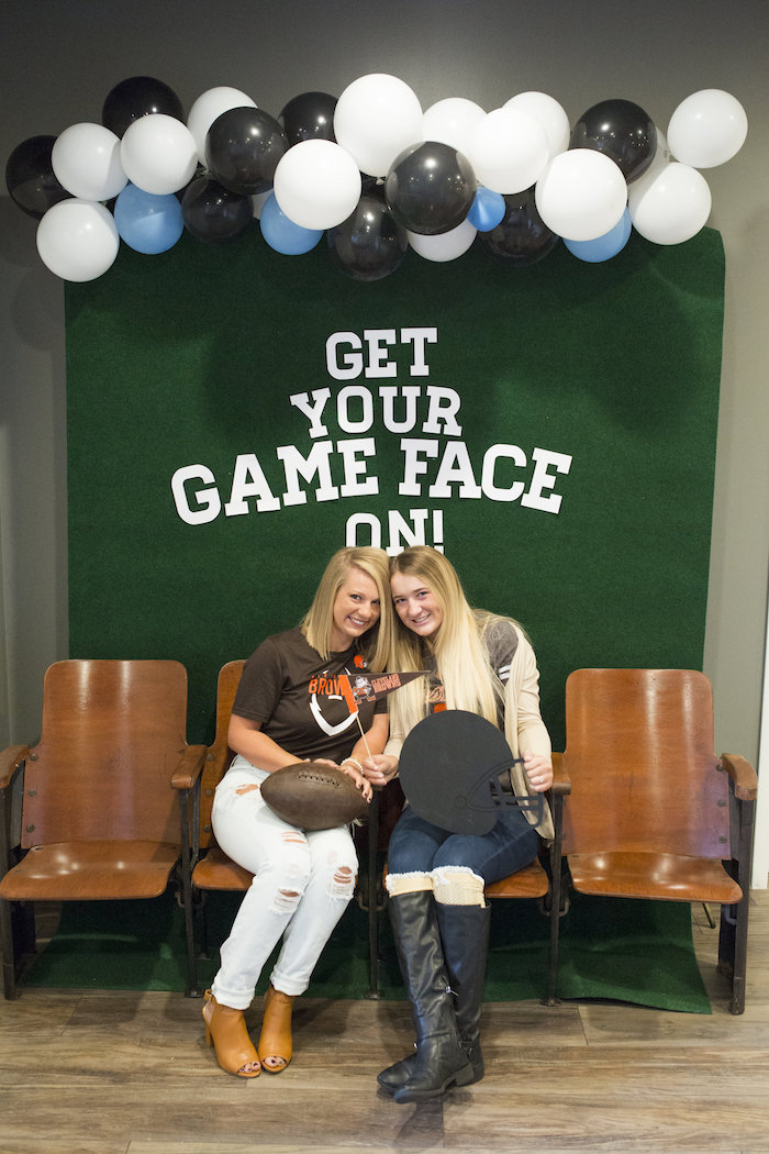 Football photo booth from a Football Kickoff Party on Kara's Party Ideas | KarasPartyIdeas.com (25)