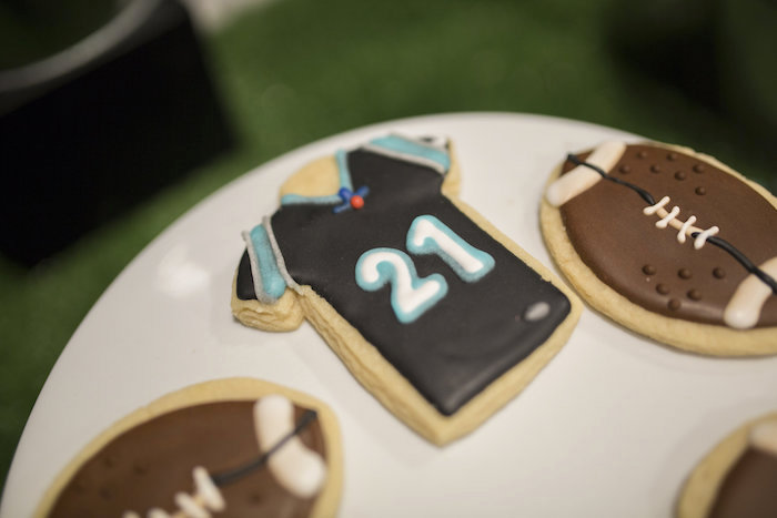 Football Jersey Cookie from a Football Kickoff Party on Kara's Party Ideas | KarasPartyIdeas.com (21)