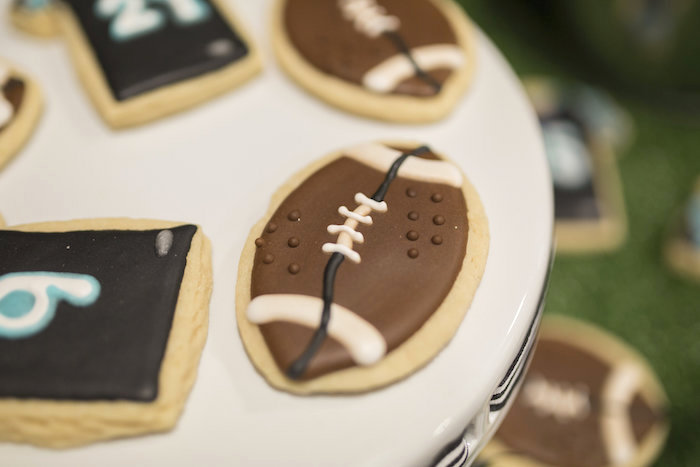 Football sugar cookie from a Football Kickoff Party on Kara's Party Ideas | KarasPartyIdeas.com (20)