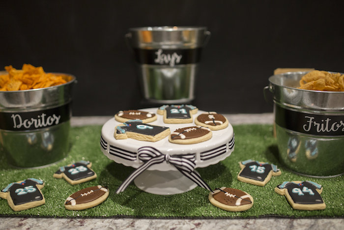 Cookies on astro turf from a Football Kickoff Party on Kara's Party Ideas | KarasPartyIdeas.com (19)