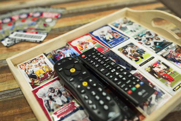 DIY football player card tray from a Football Kickoff Party on Kara's Party Ideas | KarasPartyIdeas.com (42)