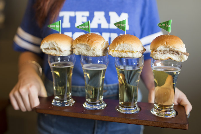 Drinks topped with pennant flag sliders from a Football Kickoff Party on Kara's Party Ideas | KarasPartyIdeas.com (40)