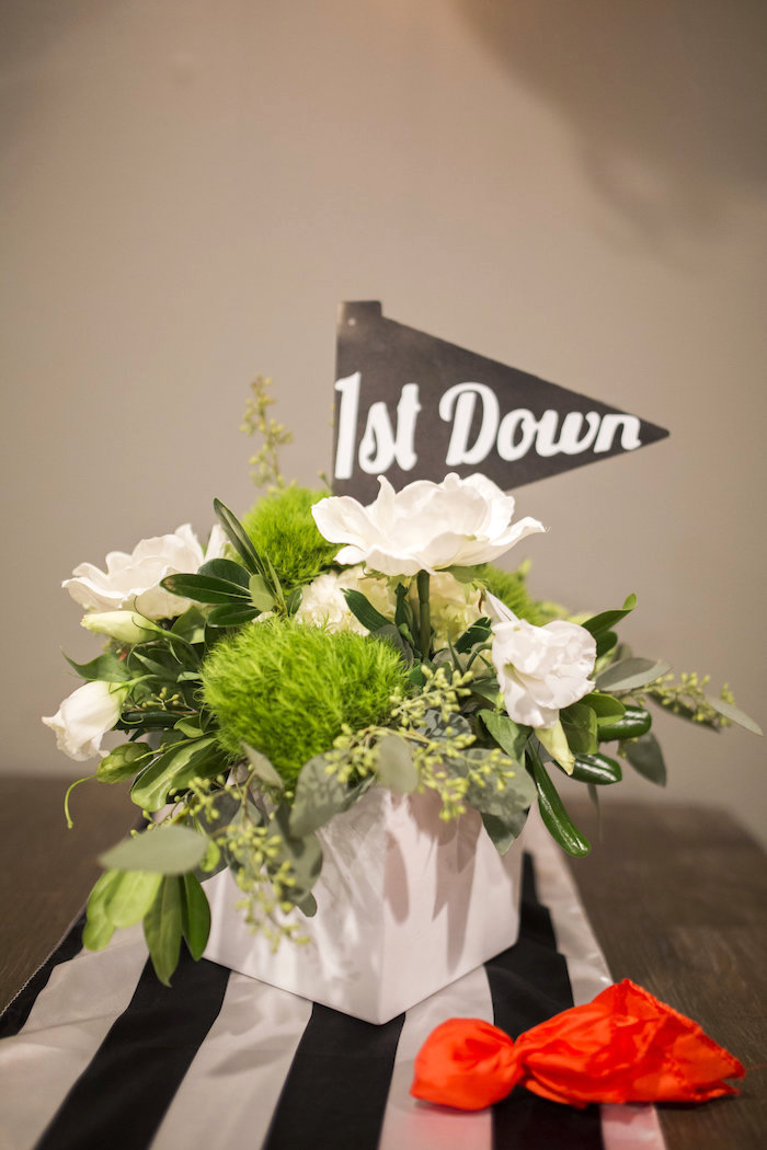 1st Down lush bloom flag centerpiece from a Football Kickoff Party on Kara's Party Ideas | KarasPartyIdeas.com (37)