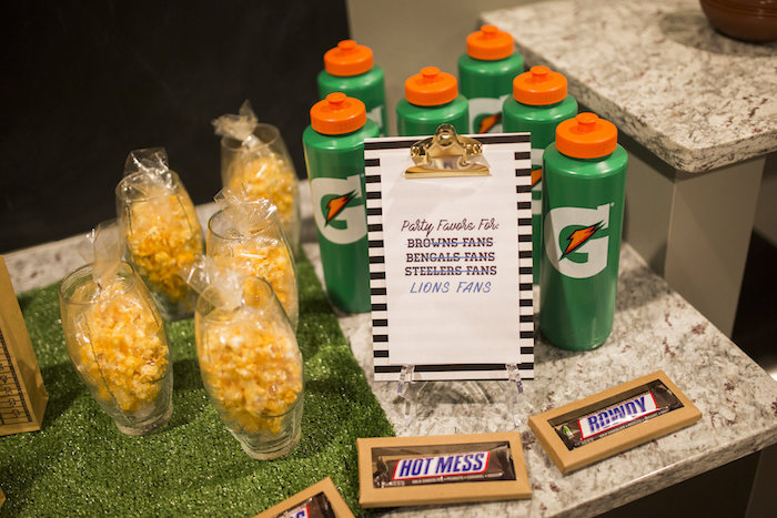 Snack and favor bar from a Football Kickoff Party on Kara's Party Ideas | KarasPartyIdeas.com (35)