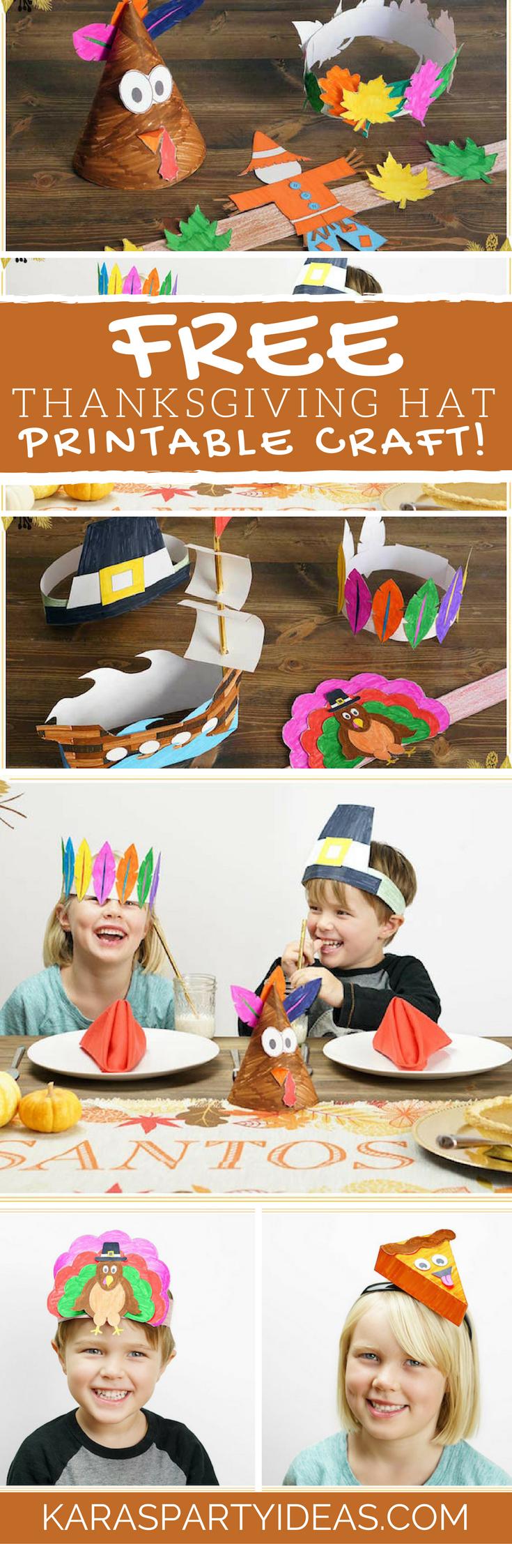 Free Thanksgiving Hat Printable Craft via Kara's Party Ideas - KarasPartyIdeas.com (1)