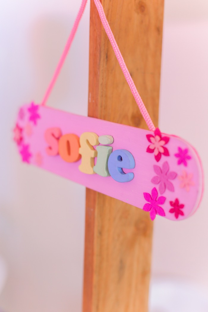 Name sign from a Garden Ballerina Birthday Party on Kara's Party Ideas | KarasPartyIdeas.com (20)