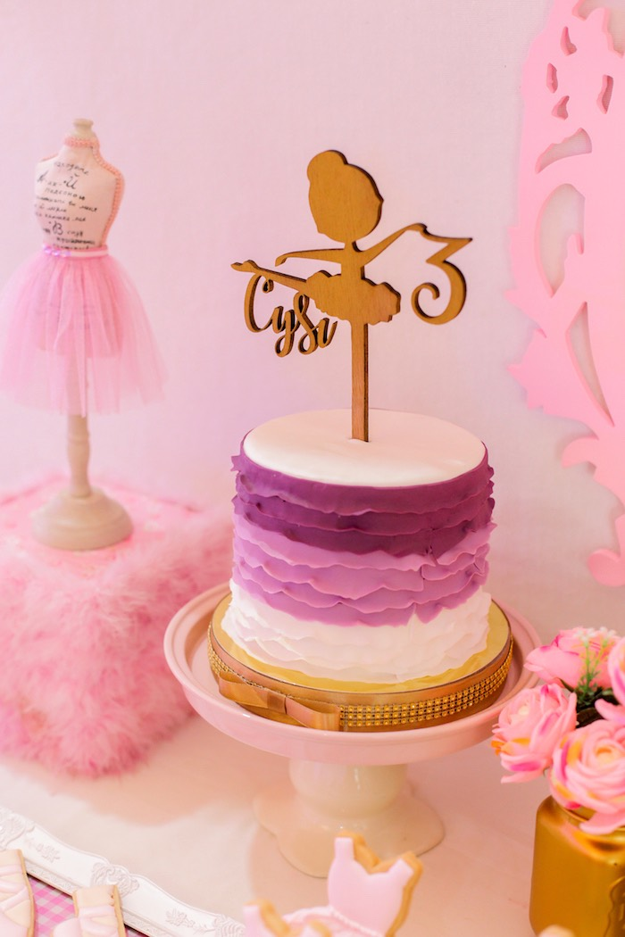 Ombre ruffle cake from a Garden Ballerina Birthday Party on Kara's Party Ideas | KarasPartyIdeas.com (12)
