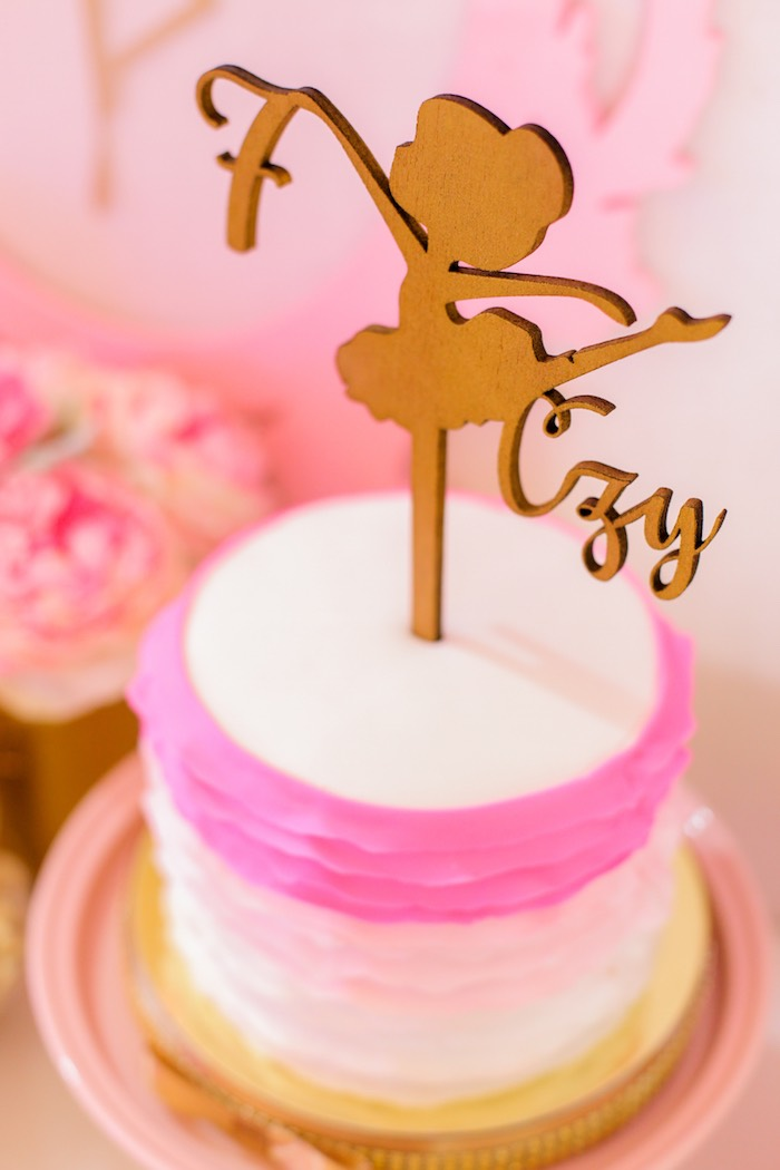 Laser cut ballerina cake topper from a Garden Ballerina Birthday Party on Kara's Party Ideas | KarasPartyIdeas.com (11)