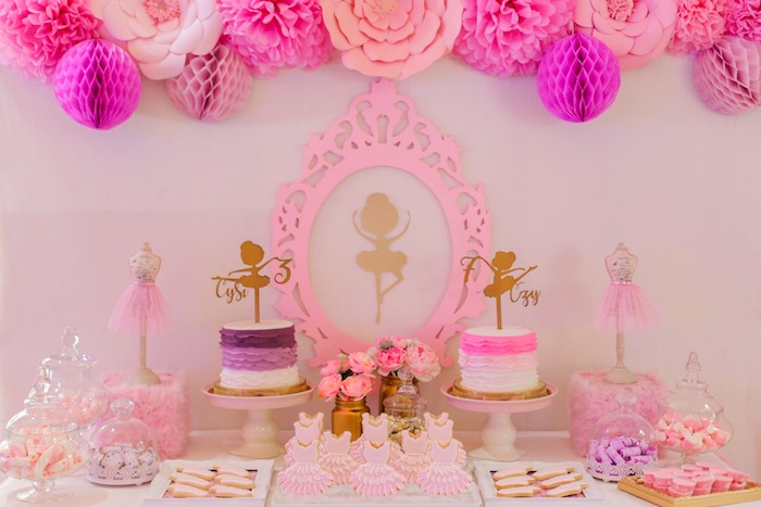 Ballerina sweet table from a Garden Ballerina Birthday Party on Kara's Party Ideas | KarasPartyIdeas.com (8)