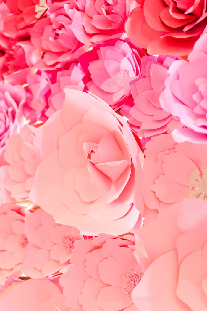 Paper flower backdrop from a Garden Ballerina Birthday Party on Kara's Party Ideas | KarasPartyIdeas.com (24)