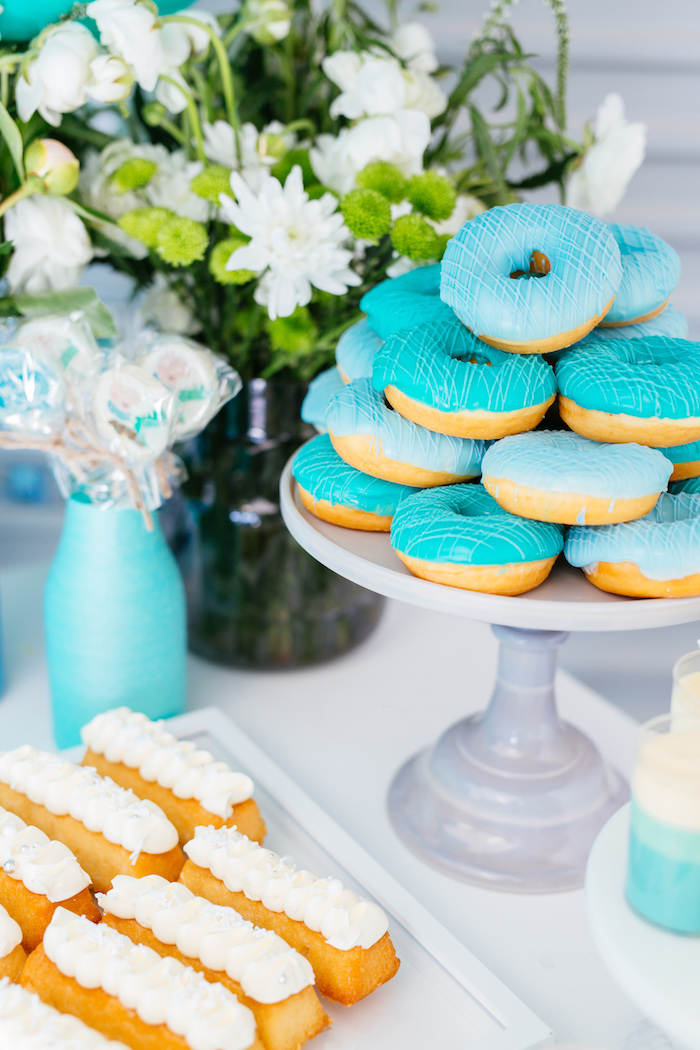 Stacked doughnuts and eclairs from a George Pig Birthday Party on Kara's Party Ideas | KarasPartyIdeas.com (8)