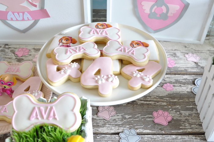 Paw Patrol Cookies from a Girly Paw Patrol Birthday Party on Kara's Party Ideas | KarasPartyIdeas.com (4)