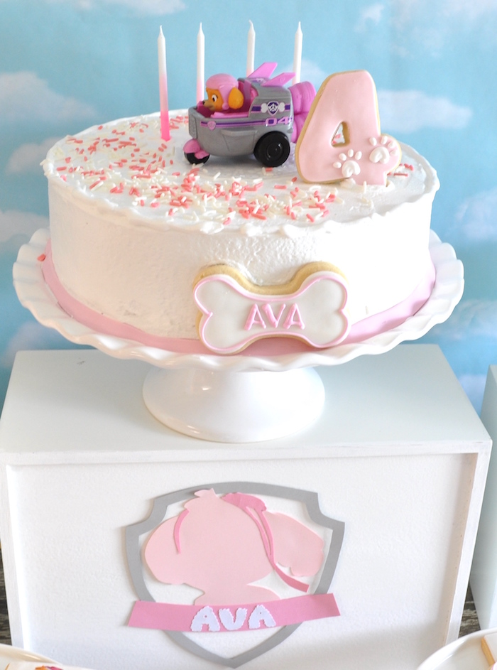 Cake pedestal from a Pink & white Paw Patrol cake from a Girly Paw Patrol Birthday Party on Kara's Party Ideas | KarasPartyIdeas.com (3)