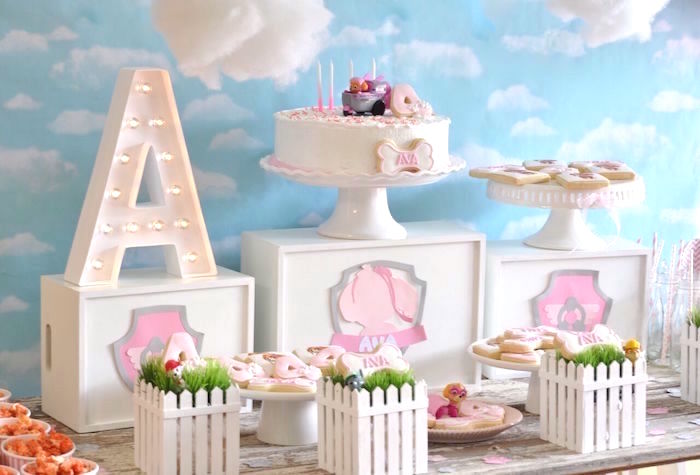 Dessert tablescape from a Girly Paw Patrol Birthday Party on Kara's Party Ideas | KarasPartyIdeas.com (15)