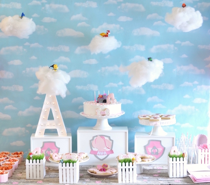 Paw Patrol sweet table from a Girly Paw Patrol Birthday Party on Kara's Party Ideas | KarasPartyIdeas.com (9)