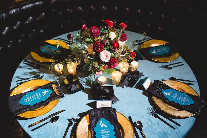 Dinner table from a Glam Holiday Progressive Dinner on Kara's Party Ideas | KarasPartyIdeas.com (21)