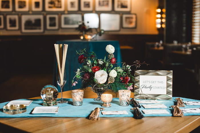 Welcome table from a Glam Holiday Progressive Dinner on Kara's Party Ideas | KarasPartyIdeas.com (40)