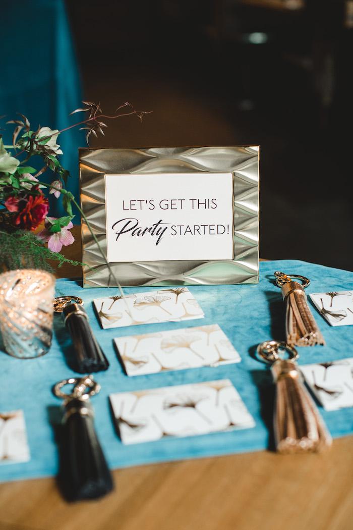 Welcome table decor from a Glam Holiday Progressive Dinner on Kara's Party Ideas | KarasPartyIdeas.com (39)